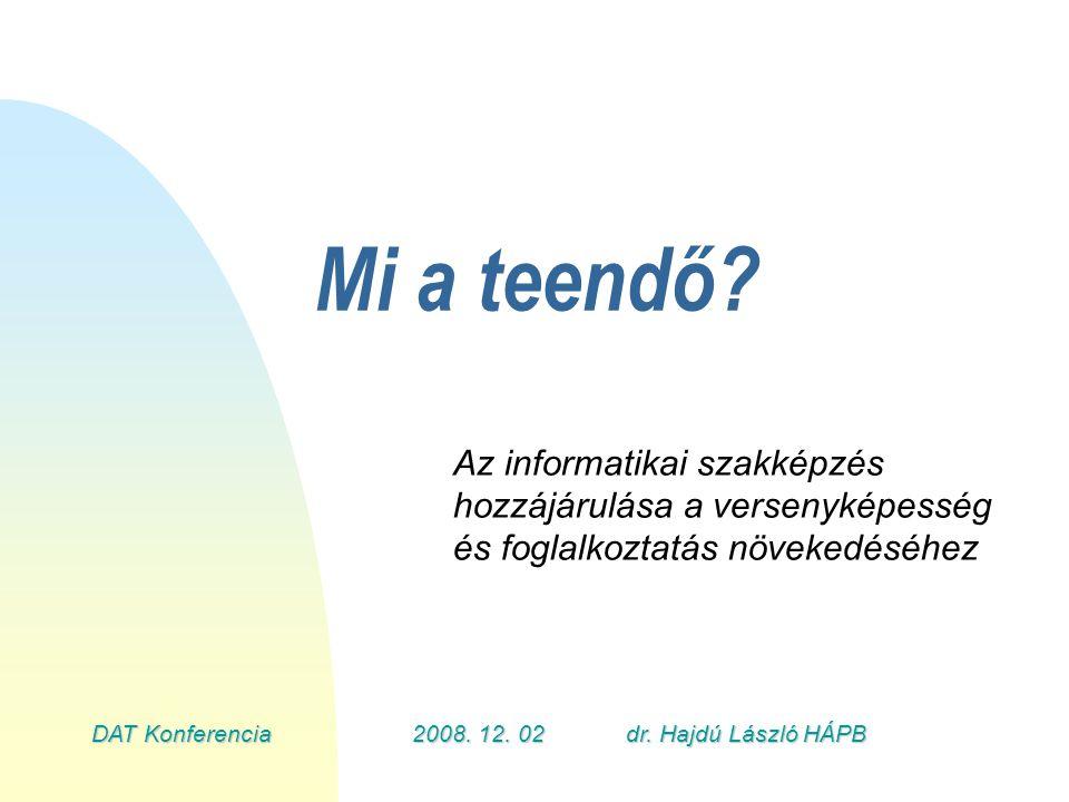 DAT Konferencia2008.12.02dr. Hajdú László HÁPB Szektor ajánlás az RFKB-k számára