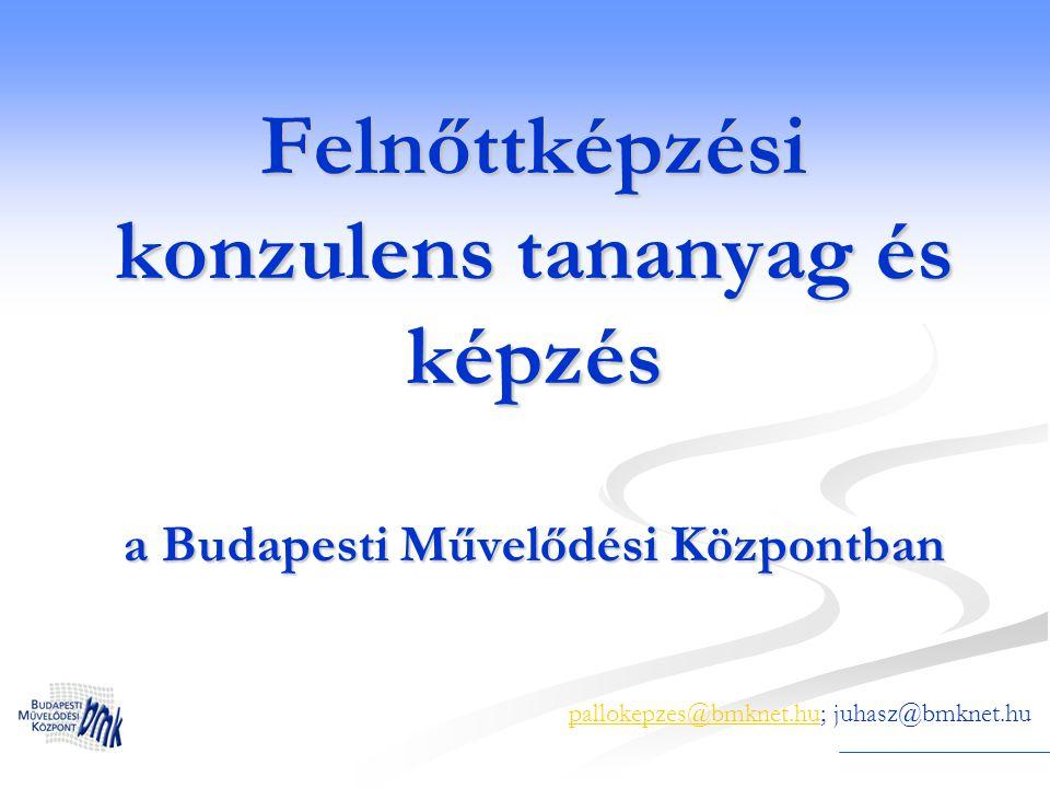 Képzések 2005-2008 A projektben 30 közművelődési szakember végezte el az ország különböző részeiről, köztük több BMK-s 2 teljes képzés közművelődési szakembereknek (Budapest, Békés megye) 1 képzés egri közművelődési szakembereknek munkaerőpiaci instruktor OKJ képzés részeként 1 képzés a kísérleti IT-mentor projekt szakmoduljaként Jelenleg Szabó Ervin Könyvtár könyvtárosainak