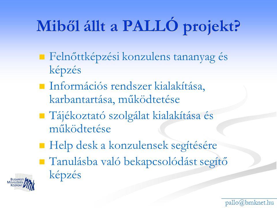 Miből állt a PALLÓ projekt? Felnőttképzési konzulens tananyag és képzés Információs rendszer kialakítása, karbantartása, működtetése Tájékoztató szolg