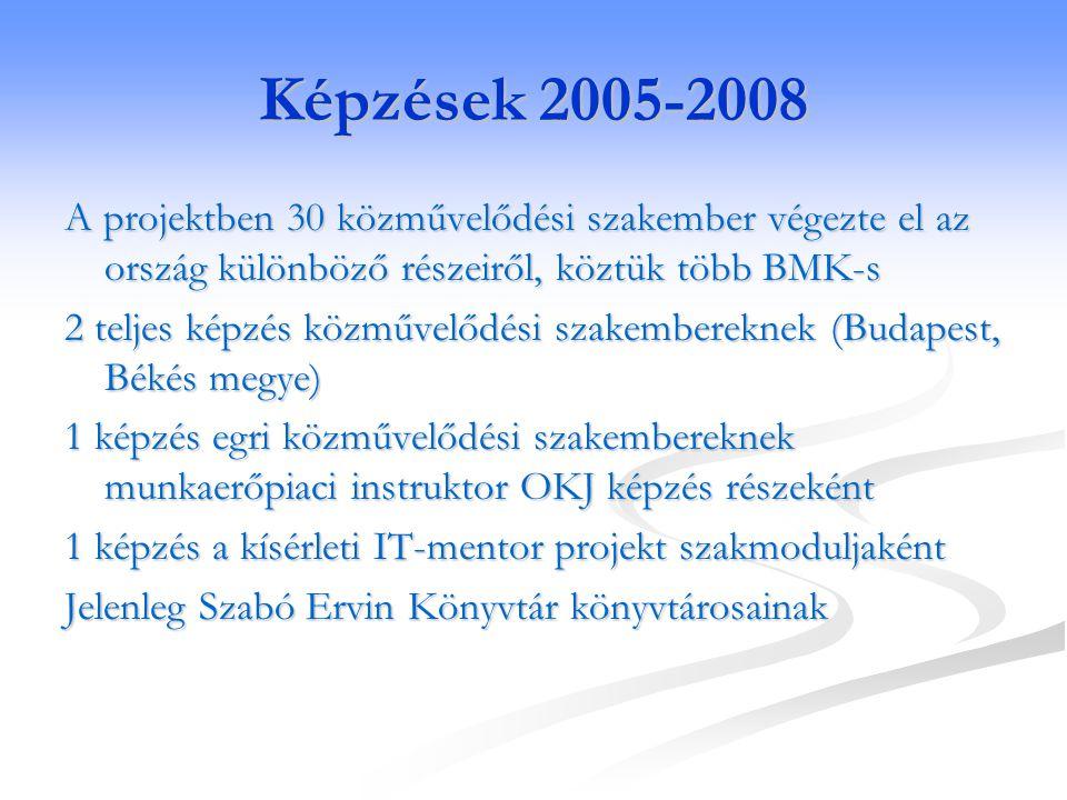 Képzések 2005-2008 A projektben 30 közművelődési szakember végezte el az ország különböző részeiről, köztük több BMK-s 2 teljes képzés közművelődési s