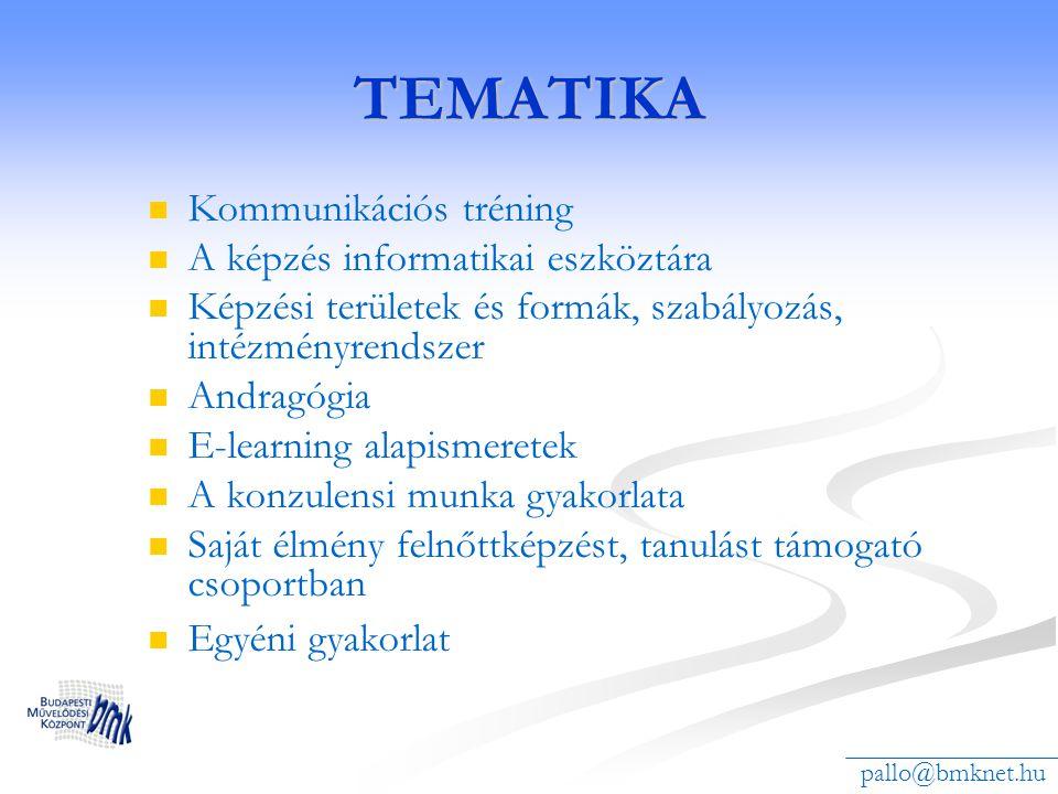 TEMATIKA Kommunikációs tréning A képzés informatikai eszköztára Képzési területek és formák, szabályozás, intézményrendszer Andragógia E-learning alap