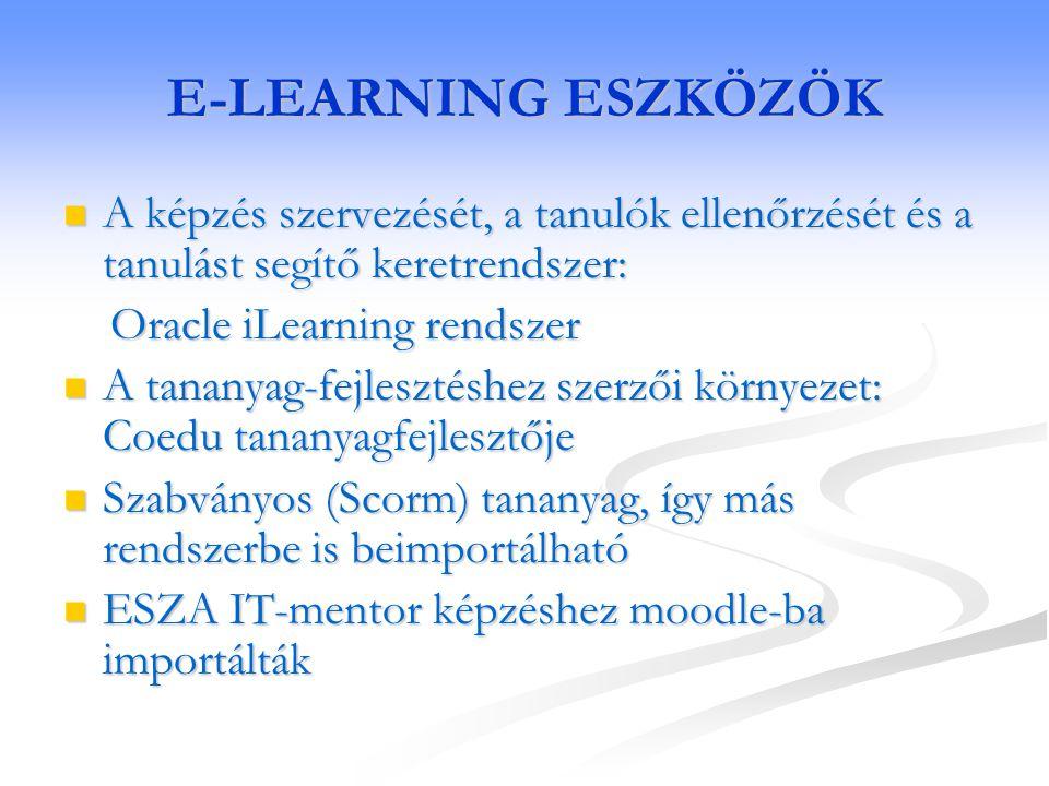 E-LEARNING ESZKÖZÖK A képzés szervezését, a tanulók ellenőrzését és a tanulást segítő keretrendszer: A képzés szervezését, a tanulók ellenőrzését és a