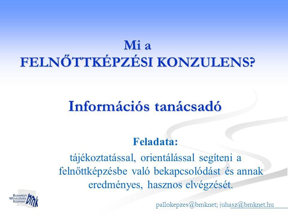 Elérhetőségek Információs rendszer www.pallo.bmknet.hu/helpdesk, www.felnottkepzesinfo.hu Információs rendszer www.pallo.bmknet.hu/helpdesk, www.felnottkepzesinfo.huwww.pallo.bmknet.hu/helpdesk Tananyag vendégként: pallo.bmknet.hu (oldal neve: vendég) Tananyag vendégként: pallo.bmknet.hu (oldal neve: vendég) E-mail: pallokepzes@bmknet.hu, juhasz@bmknet.hu E-mail: pallokepzes@bmknet.hu, juhasz@bmknet.hupallokepzes@bmknet.hujuhasz@bmknet.hupallokepzes@bmknet.hujuhasz@bmknet.hu PALLÓ tájékoztató szolgálat palloinfo@bmknet.hu, 371-2772, Budapesti Művelődési Központ, 1119 Budapest, Etele út.