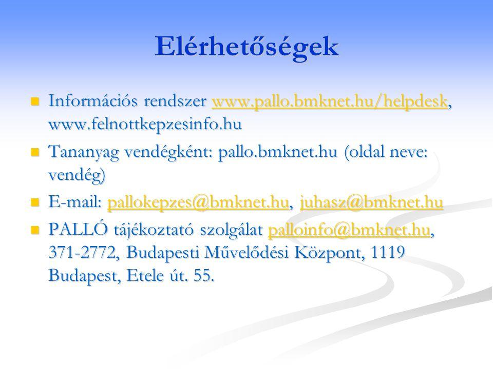 Elérhetőségek Információs rendszer www.pallo.bmknet.hu/helpdesk, www.felnottkepzesinfo.hu Információs rendszer www.pallo.bmknet.hu/helpdesk, www.felno