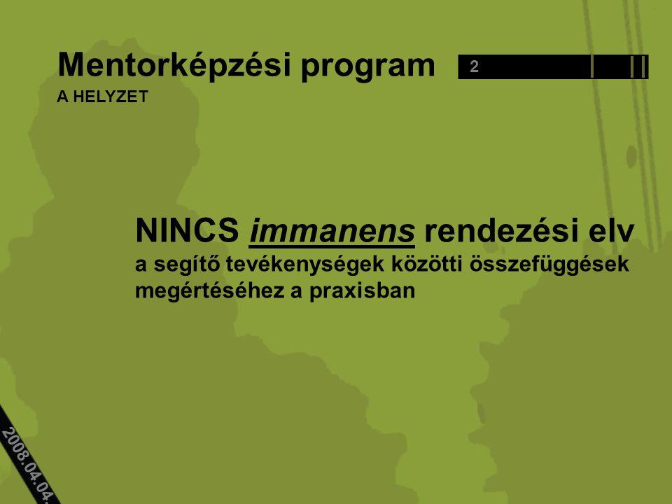 2008.04.04.. Mentorképzési program NINCS immanens rendezési elv a segítő tevékenységek közötti összefüggések megértéséhez a praxisban 2 A HELYZET