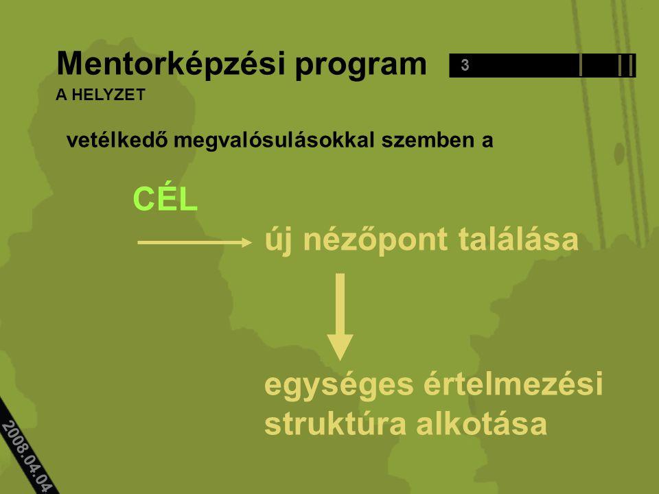 2008.04.04.. vetélkedő megvalósulásokkal szemben a CÉL új nézőpont találása egységes értelmezési struktúra alkotása 3 Mentorképzési program A HELYZET