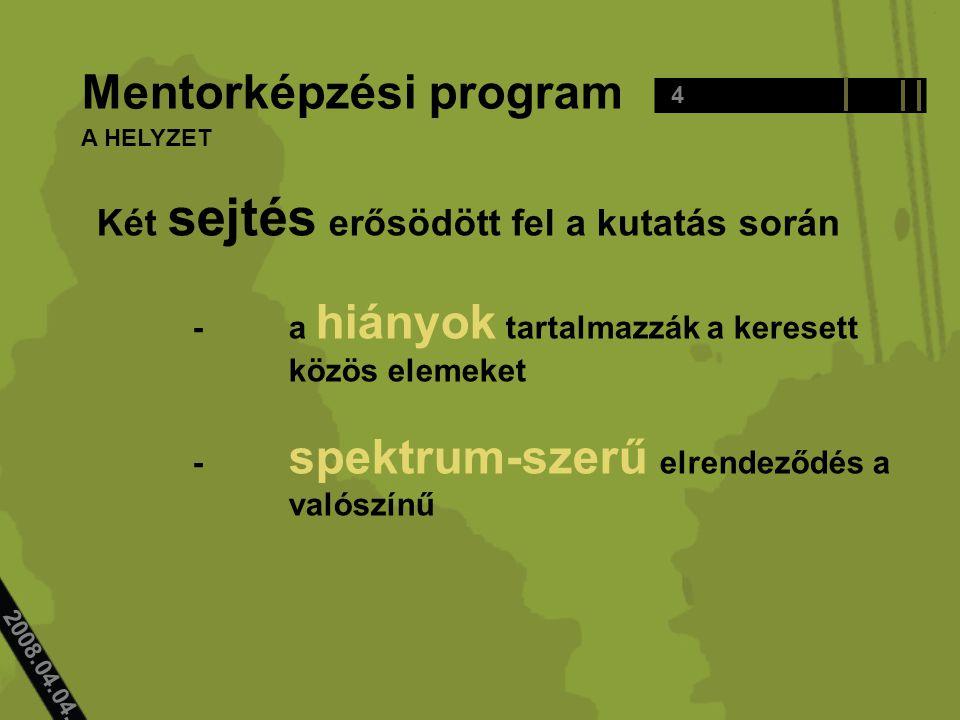 2008.04.04.. Mentorképzési program Két sejtés erősödött fel a kutatás során -a hiányok tartalmazzák a keresett közös elemeket - spektrum-szerű elrende