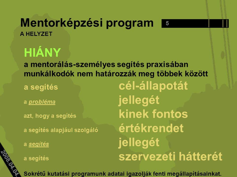 2008.04.04.. Mentorképzési program HIÁNY a mentorálás-személyes segítés praxisában munkálkodók nem határozzák meg többek között a segítés cél-állapotá