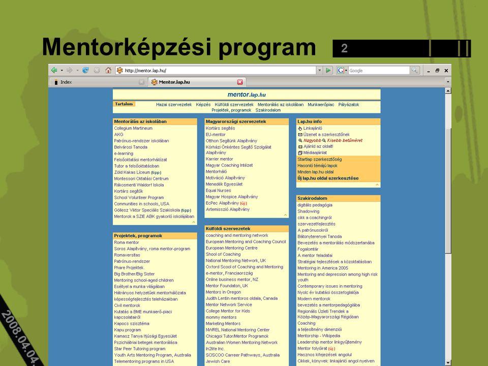 2008.04.04.. Mentorképzési program 2