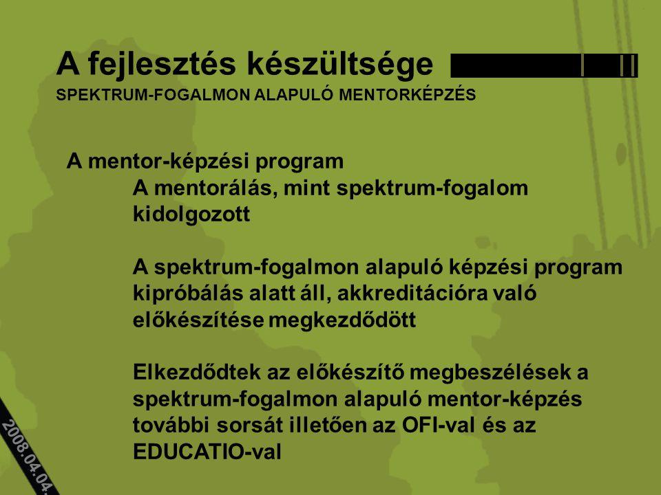 2008.04.04.. A fejlesztés készültsége A mentor-képzési program A mentorálás, mint spektrum-fogalom kidolgozott A spektrum-fogalmon alapuló képzési pro