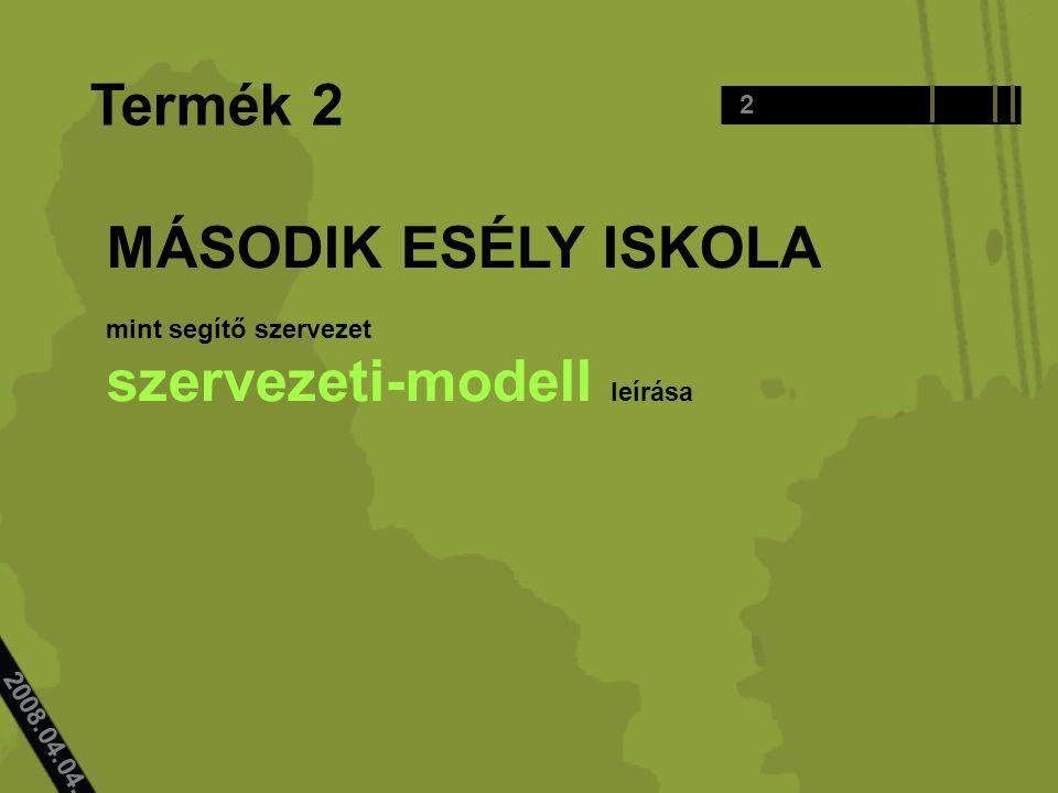 2008.04.04.. Termék 2 MÁSODIK ESÉLY ISKOLA mint segítő szervezet szervezeti-modell leírása 2