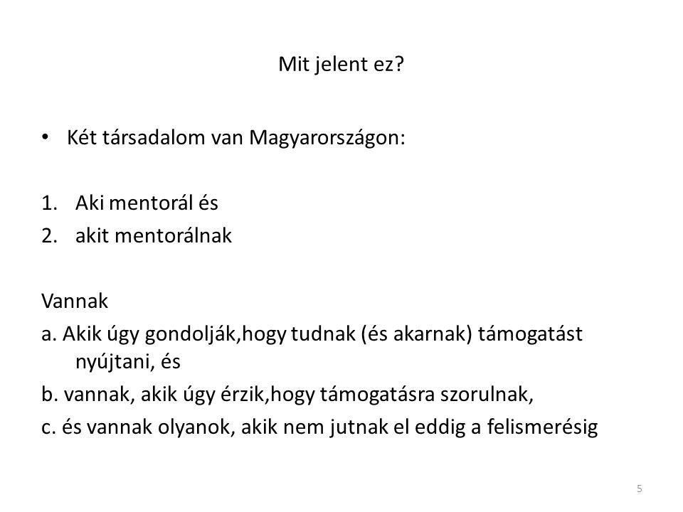 Mit jelent ez.Két társadalom van Magyarországon: 1.Aki mentorál és 2.akit mentorálnak Vannak a.