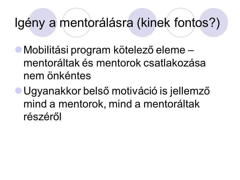 Igény a mentorálásra (kinek fontos?) Mobilitási program kötelező eleme – mentoráltak és mentorok csatlakozása nem önkéntes Ugyanakkor belső motiváció is jellemző mind a mentorok, mind a mentoráltak részéről