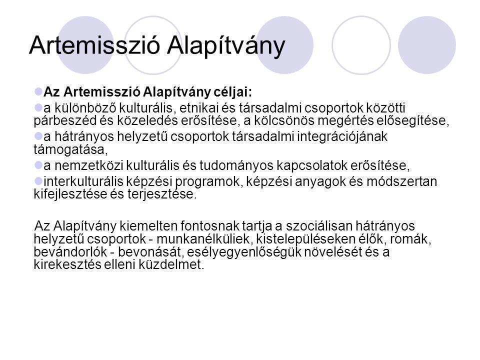 Az Artemisszió Alapítvány céljai: a különböző kulturális, etnikai és társadalmi csoportok közötti párbeszéd és közeledés erősítése, a kölcsönös megért