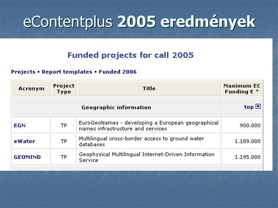 eContentplus 2005 eredmények