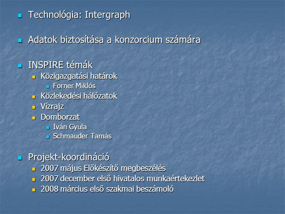 Technológia: Intergraph Technológia: Intergraph Adatok biztosítása a konzorcium számára Adatok biztosítása a konzorcium számára INSPIRE témák INSPIRE