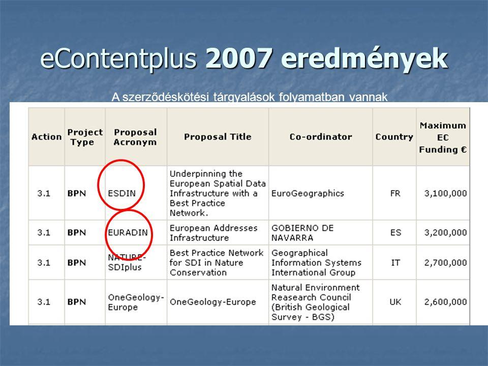 eContentplus 2007 eredmények A szerződéskötési tárgyalások folyamatban vannak