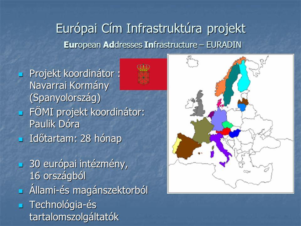 Európai Cím Infrastruktúra projekt European Addresses Infrastructure – EURADIN Projekt koordinátor : Navarrai Kormány (Spanyolország) Projekt koordiná