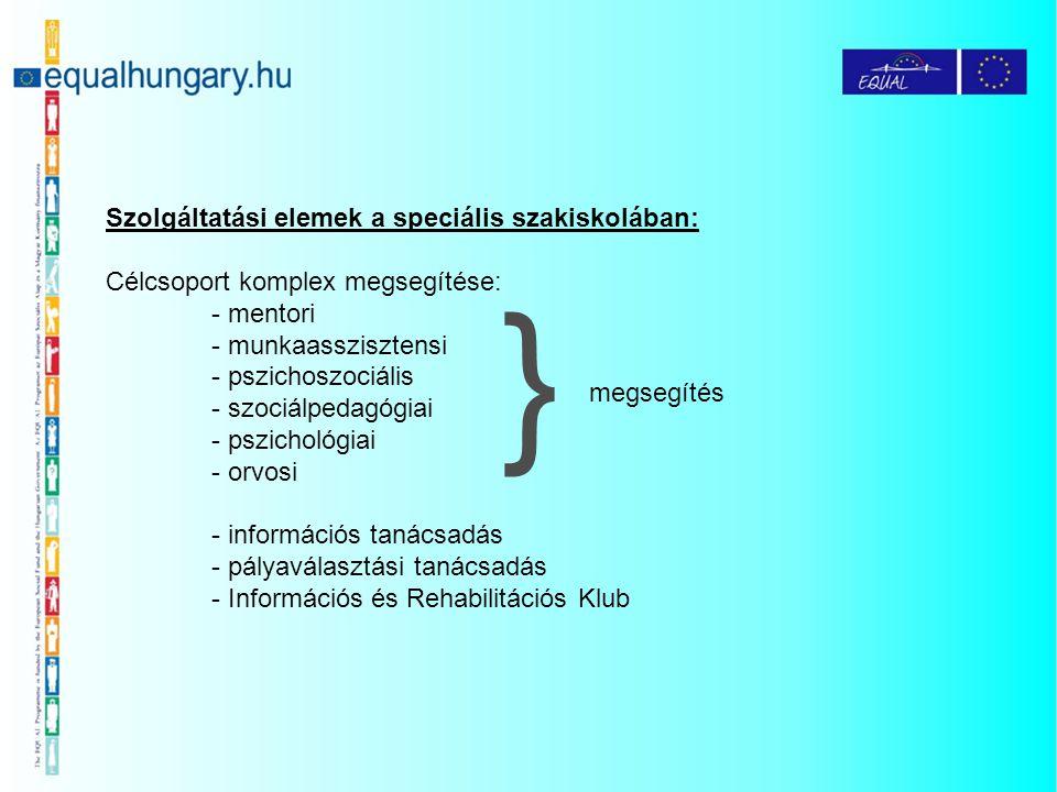 Szolgáltatási elemek a speciális szakiskolában: Célcsoport komplex megsegítése: - mentori - munkaasszisztensi - pszichoszociális - szociálpedagógiai -