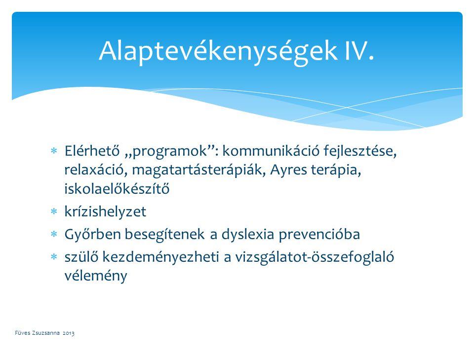 """ Elérhető """"programok"""": kommunikáció fejlesztése, relaxáció, magatartásterápiák, Ayres terápia, iskolaelőkészítő  krízishelyzet  Győrben besegítenek"""