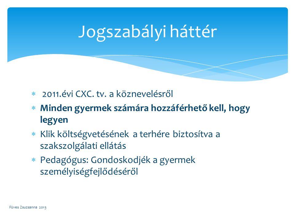  2011.évi CXC. tv. a köznevelésről  Minden gyermek számára hozzáférhető kell, hogy legyen  Klik költségvetésének a terhére biztosítva a szakszolgál