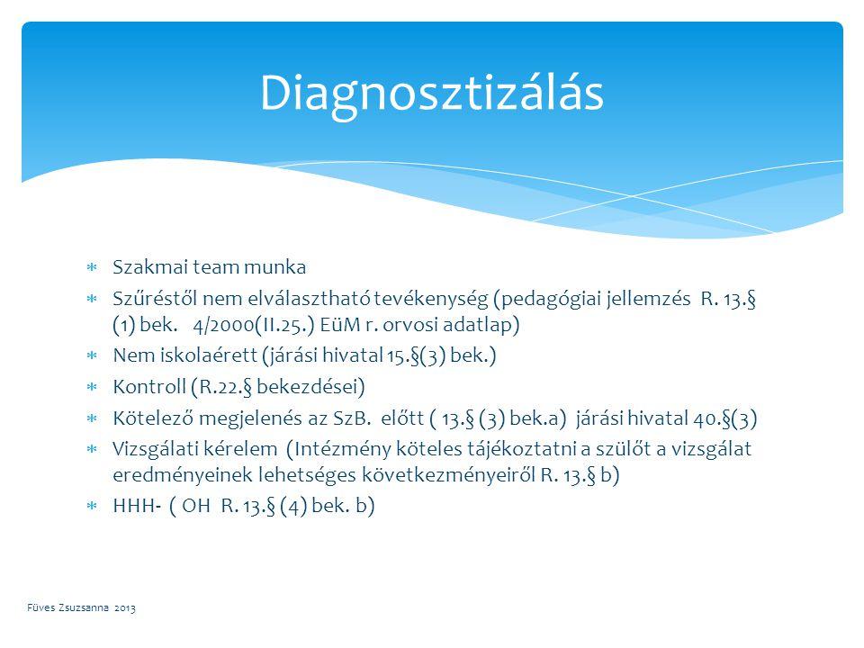  Szakmai team munka  Szűréstől nem elválasztható tevékenység (pedagógiai jellemzés R. 13.§ (1) bek. 4/2000(II.25.) EüM r. orvosi adatlap)  Nem isko