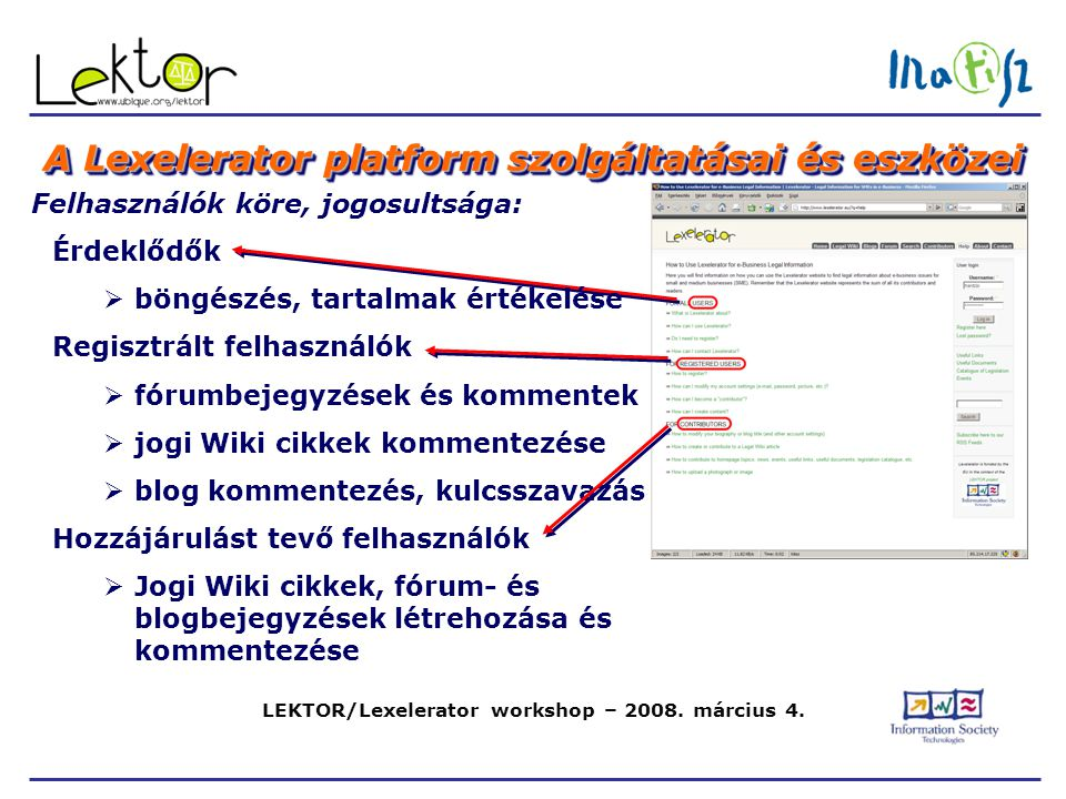 LEKTOR/Lexelerator workshop – 2008. március 4. A Lexelerator platform szolgáltatásai és eszközei Felhasználók köre, jogosultsága: Érdeklődők  böngész