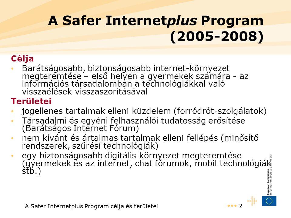 A Safer Internetplus Program célja és területei 2 A Safer Internetplus Program (2005-2008) Célja Barátságosabb, biztonságosabb internet-környezet megteremtése – első helyen a gyermekek számára - az információs társadalomban a technológiákkal való visszaélések visszaszorításával Területei jogellenes tartalmak elleni küzdelem (forródrót-szolgálatok) Társadalmi és egyéni felhasználói tudatosság erősítése (Barátságos Internet Fórum) nem kívánt és ártalmas tartalmak elleni fellépés (minősítő rendszerek, szűrési technológiák) egy biztonságosabb digitális környezet megteremtése (gyermekek és az internet, chat fórumok, mobil technológiák stb.)