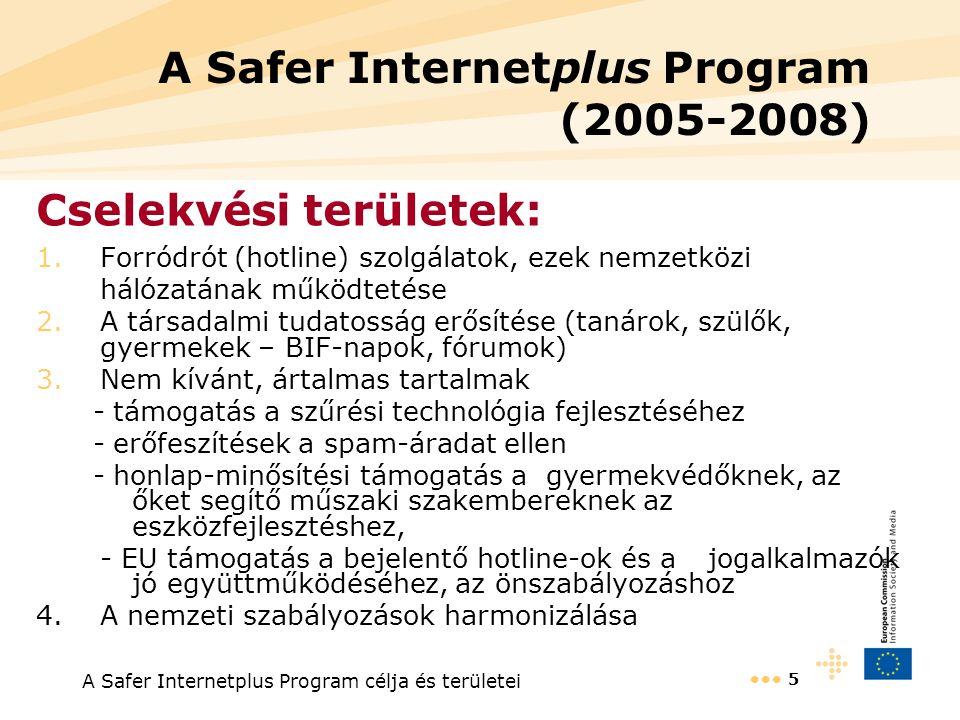 A Safer Internetplus Program célja és területei 5 A Safer Internetplus Program (2005-2008) Cselekvési területek: 1.Forródrót (hotline) szolgálatok, ezek nemzetközi hálózatának működtetése 2.A társadalmi tudatosság erősítése (tanárok, szülők, gyermekek – BIF-napok, fórumok) 3.Nem kívánt, ártalmas tartalmak - támogatás a szűrési technológia fejlesztéséhez - erőfeszítések a spam-áradat ellen - honlap-minősítési támogatás a gyermekvédőknek, az őket segítő műszaki szakembereknek az eszközfejlesztéshez, - EU támogatás a bejelentő hotline-ok és a jogalkalmazók jó együttműködéséhez, az önszabályozáshoz 4.A nemzeti szabályozások harmonizálása