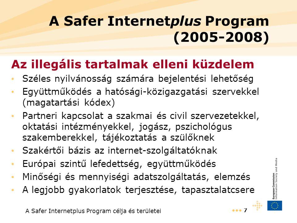 A Safer Internetplus Program célja és területei 7 A Safer Internetplus Program (2005-2008) Az illegális tartalmak elleni küzdelem Széles nyilvánosság számára bejelentési lehetőség Együttműködés a hatósági-közigazgatási szervekkel (magatartási kódex) Partneri kapcsolat a szakmai és civil szervezetekkel, oktatási intézményekkel, jogász, pszichológus szakemberekkel, tájékoztatás a szülőknek Szakértői bázis az internet-szolgáltatóknak Európai szintű lefedettség, együttműködés Minőségi és mennyiségi adatszolgáltatás, elemzés A legjobb gyakorlatok terjesztése, tapasztalatcsere
