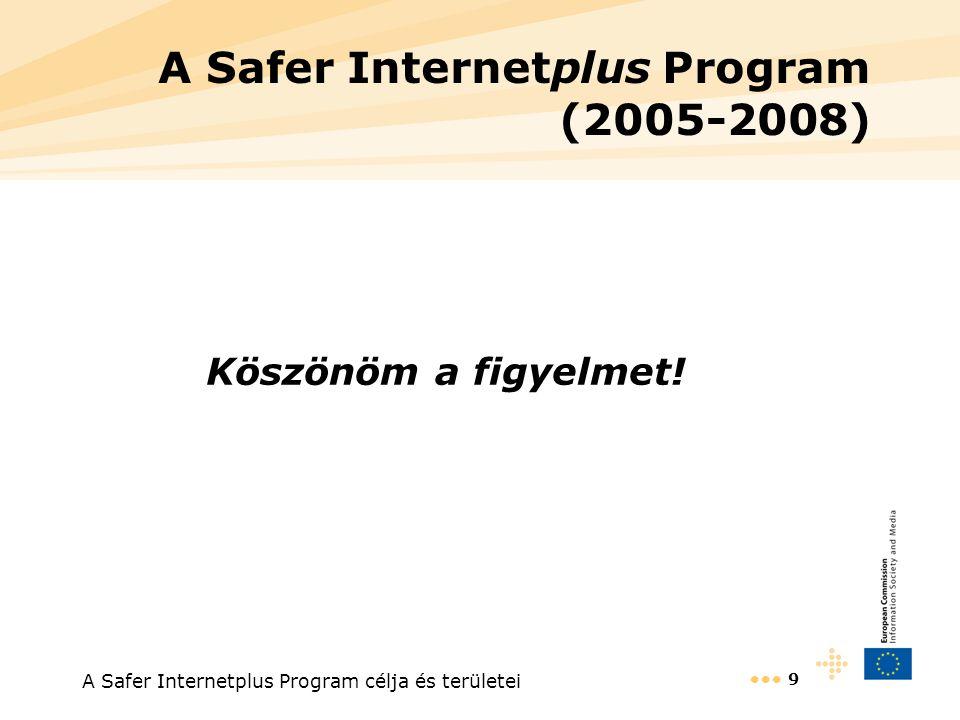 A Safer Internetplus Program célja és területei 9 A Safer Internetplus Program (2005-2008) Köszönöm a figyelmet!