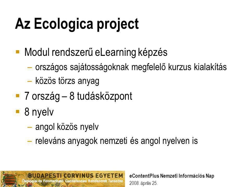 Ökológiai és Fenntartható Gazdálkodási Rendszerek Tanszéke 2008. április 25. eContentPlus Nemzeti Információs Nap Az Ecologica project  Modul rendsze