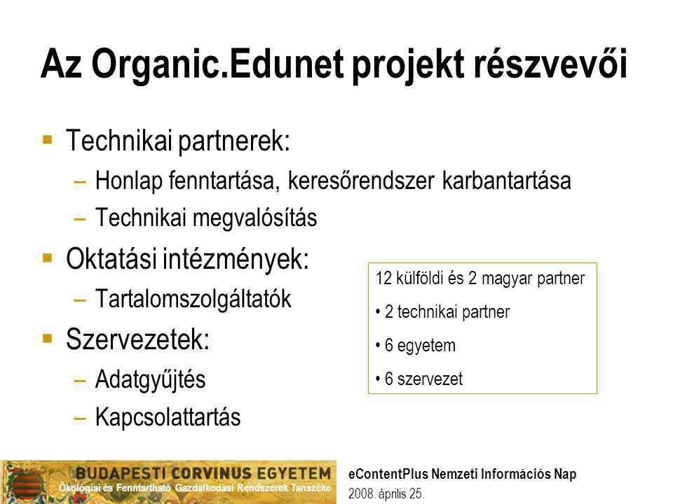 Ökológiai és Fenntartható Gazdálkodási Rendszerek Tanszéke 2008. április 25. eContentPlus Nemzeti Információs Nap Az Organic.Edunet projekt részvevői