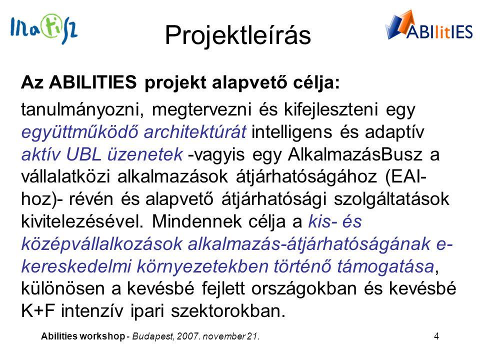 Abilities workshop - Budapest, 2007. november 21.4 Projektleírás Az ABILITIES projekt alapvető célja: tanulmányozni, megtervezni és kifejleszteni egy