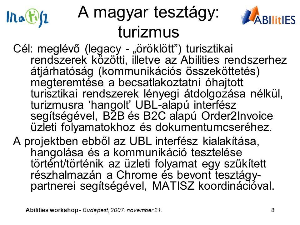"""Abilities workshop - Budapest, 2007. november 21.8 A magyar tesztágy: turizmus Cél: meglévő (legacy - """"öröklött"""") turisztikai rendszerek közötti, ille"""