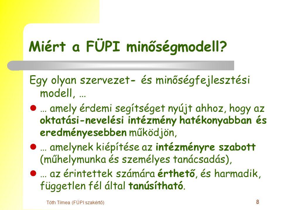 8 Tóth Tímea (FÜPI szakértő) Miért a FÜPI minőségmodell.