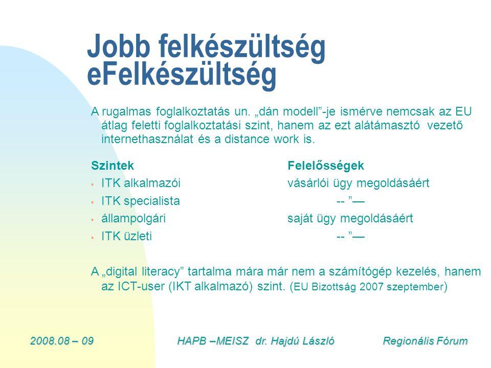 """2008.08 – 09HAPB –MEISZ dr. Hajdú László Regionális Fórum Jobb felkészültség eFelkészültség A rugalmas foglalkoztatás un. """"dán modell""""-je ismérve nemc"""