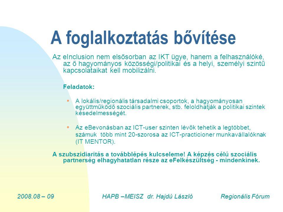 2008.08 – 09HAPB –MEISZ dr. Hajdú László Regionális Fórum A foglalkoztatás bővítése Az eInclusion nem elsősorban az IKT ügye, hanem a felhasználóké, a