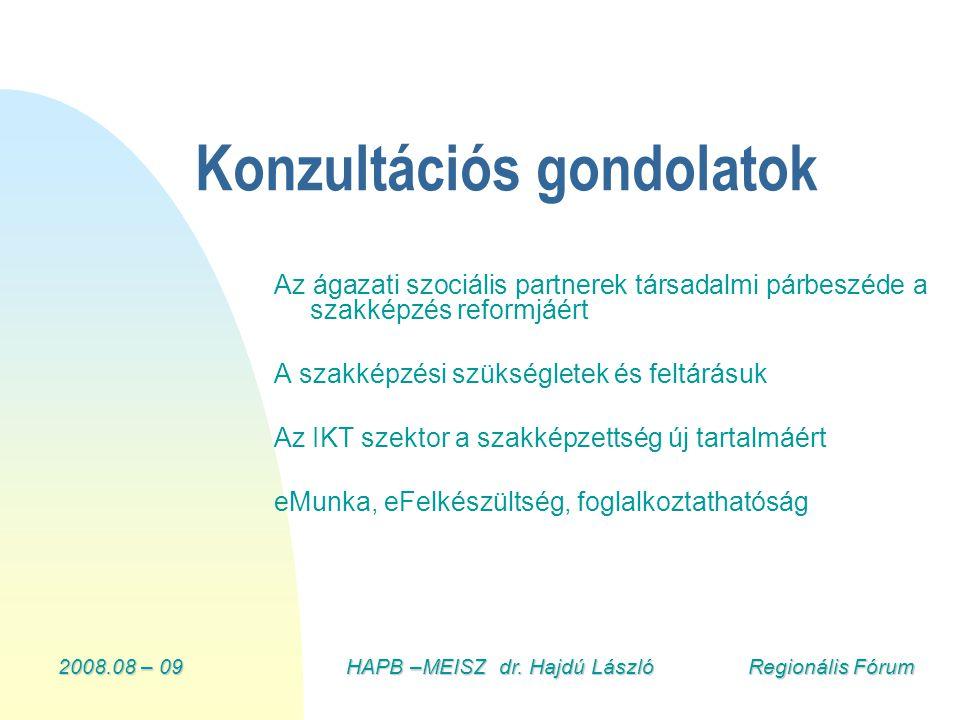 2008.08 – 09HAPB –MEISZ dr. Hajdú László Regionális Fórum Konzultációs gondolatok Az ágazati szociális partnerek társadalmi párbeszéde a szakképzés re