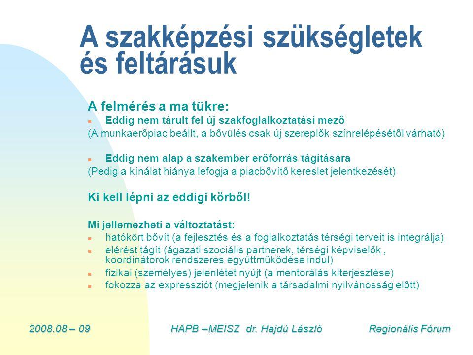 2008.08 – 09HAPB –MEISZ dr. Hajdú László Regionális Fórum A szakképzési szükségletek és feltárásuk A felmérés a ma tükre: n Eddig nem tárult fel új sz