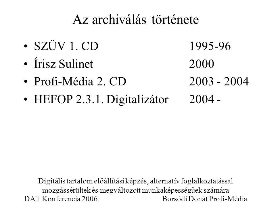 Digitális tartalom előállítási képzés, alternatív foglalkoztatással mozgássérültek és megváltozott munkaképességűek számára DAT Konferencia 2006 Borsódi Donát Profi-Média SZÜV 1.