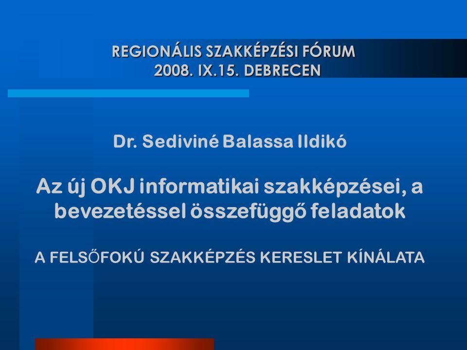 Dr. Sediviné Balassa Ildikó Az új OKJ informatikai szakképzései, a bevezetéssel összefügg ő feladatok A FELS Ő FOKÚ SZAKKÉPZÉS KERESLET KÍNÁLATA REGIO
