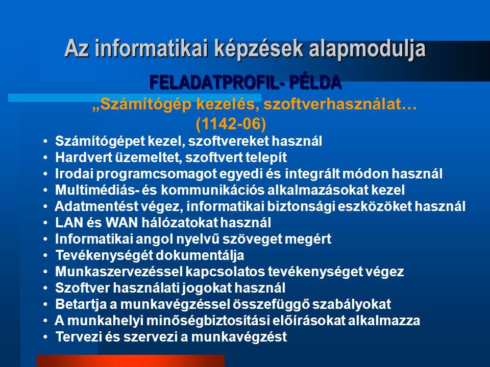 """Az informatikai képzések alapmodulja FELADATPROFIL- PÉLDA """"Számítógép kezelés, szoftverhasználat… (1142-06) Számítógépet kezel, szoftvereket használ H"""