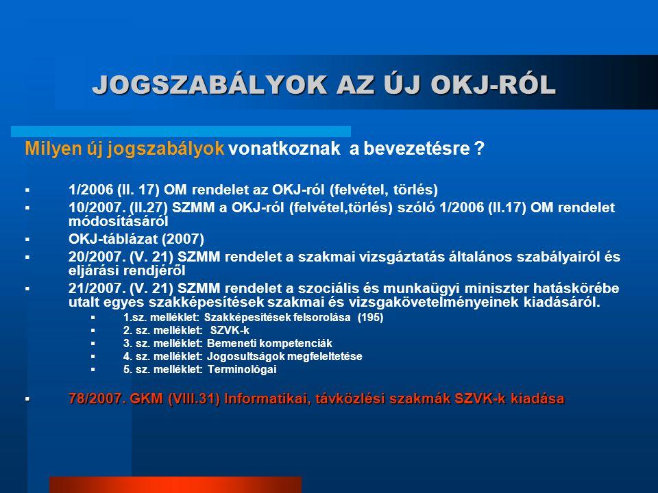 JOGSZABÁLYOK AZ ÚJ OKJ-RÓL Milyen új jogszabályok vonatkoznak a bevezetésre ?  1/2006 (II. 17) OM rendelet az OKJ-ról (felvétel, törlés)  10/2007. (