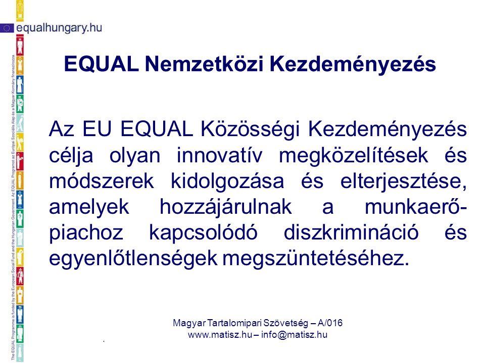 2008. március 27. Magyar Tartalomipari Szövetség – A/016 www.matisz.hu – info@matisz.hu EQUAL Nemzetközi Kezdeményezés Az EU EQUAL Közösségi Kezdemény