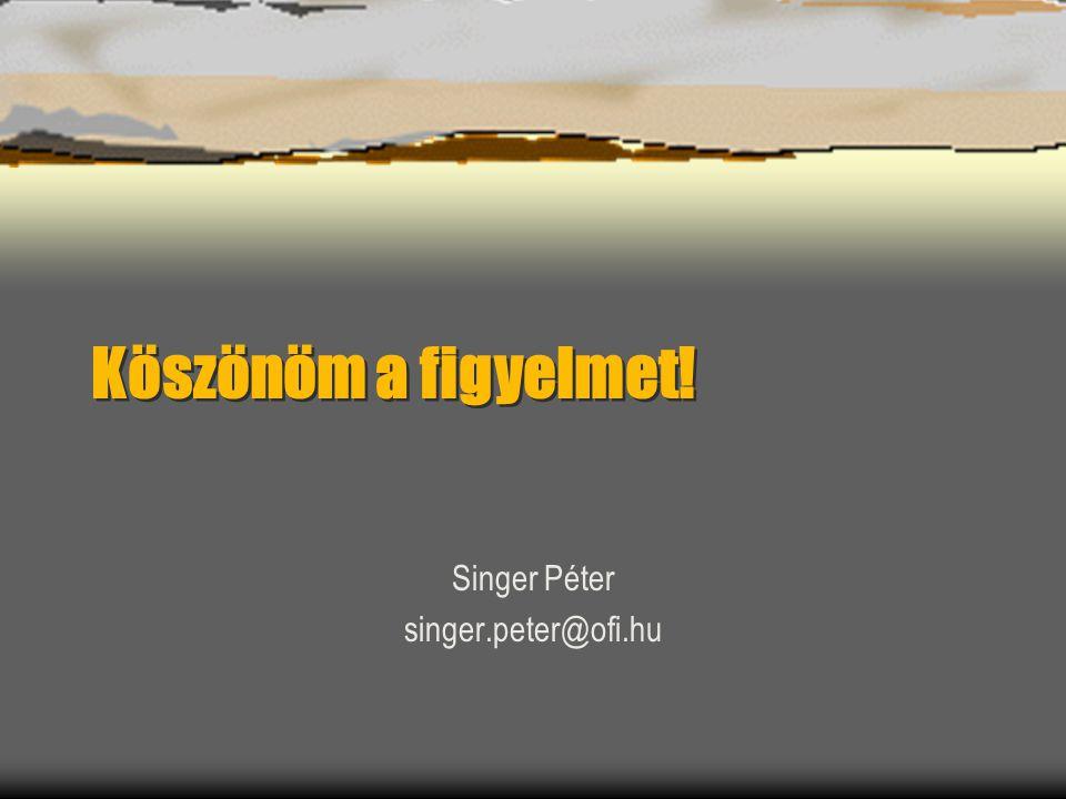 Köszönöm a figyelmet! Singer Péter singer.peter@ofi.hu