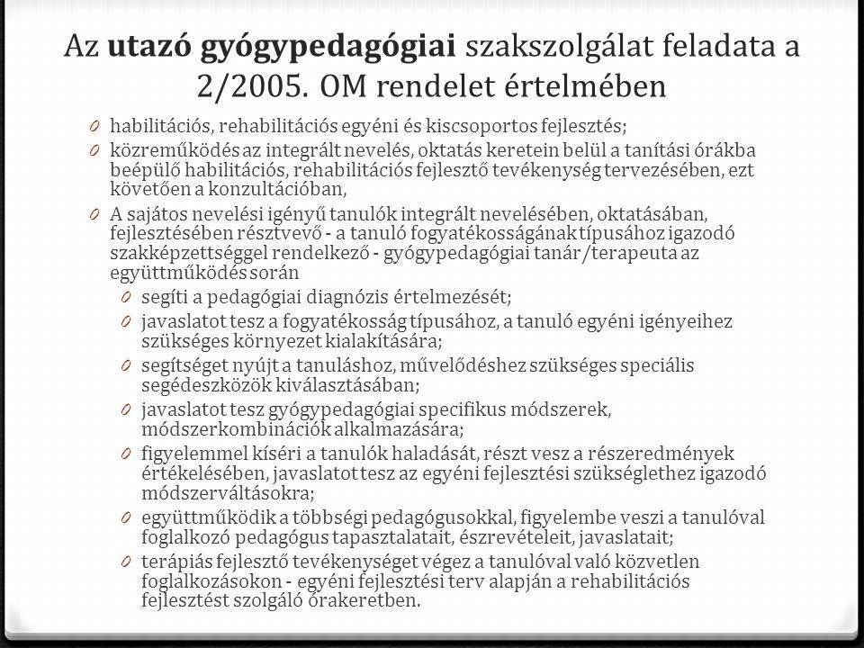 Az utazó gyógypedagógiai szakszolgálat feladata a 2/2005. OM rendelet értelmében 0 habilitációs, rehabilitációs egyéni és kiscsoportos fejlesztés; 0 k