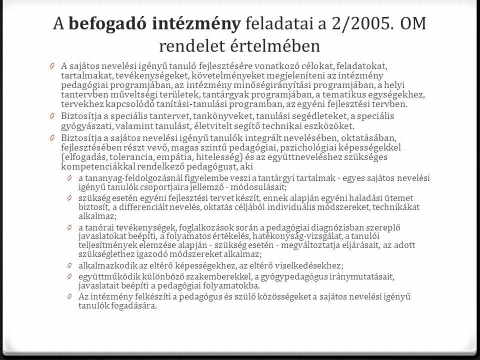 A befogadó intézmény feladatai a 2/2005. OM rendelet értelmében 0 A sajátos nevelési igényű tanuló fejlesztésére vonatkozó célokat, feladatokat, tarta