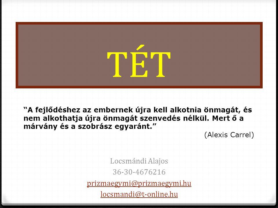 """TÉT Locsmándi Alajos 36-30-4676216 prizmaegymi@prizmaegymi.hu locsmandi@t-online.hu """"A fejlődéshez az embernek újra kell alkotnia önmagát, és nem alko"""
