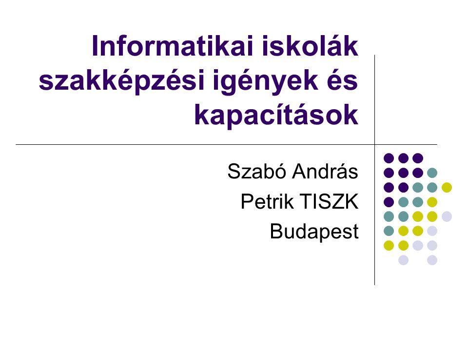Informatikai iskolák szakképzési igények és kapacítások Szabó András Petrik TISZK Budapest